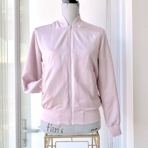 Pink Faux Satin Bomber